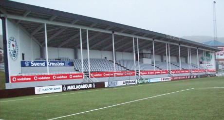 A deserted Gundadalur Stadium in Tórshavn.