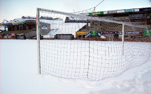 Pitch at Gundadalur Stadium, Torshavn, covered with snow