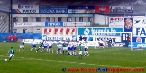 Ian Harte taking a free kick for Ireland against the Faroe Islands at Tórsvøllur Stadiun