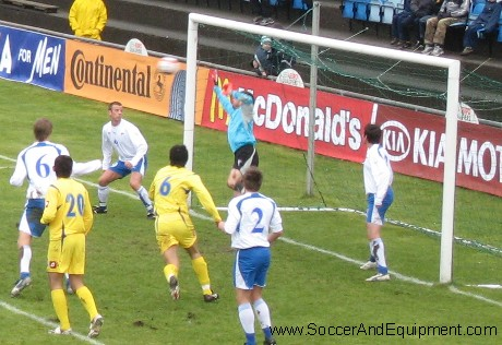 Goalkeeper Jákup Mikkelsen, Faroe Islands, makes a fantastic save