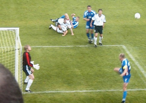 Oliver Kahn, playing for Germany at Tórsvøllur Stadium 2003