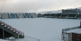 Tórsvøllur Stadium, Faroe Islands, March 2006: covered in snow!