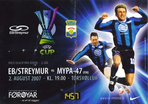 EB/Streymur - MyPa-47, 1st qualifying round, 2nd leg, UEFA Cup, August 02,  2007
