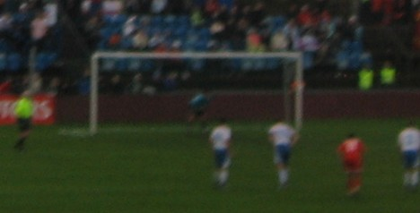 Levan Kobiashvili scoring for Georgia with a penalty against the Faroe Islands